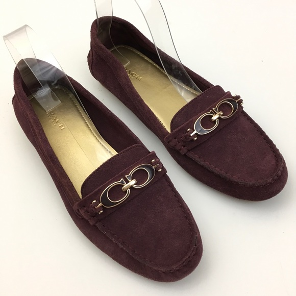 c88086693ae Coach Shoes - Coach Fortunata Driving Loafer Burgundy Suede Shoe
